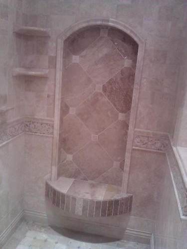 Travertine tile arch and design