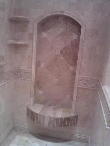 Travertine tile arch and design