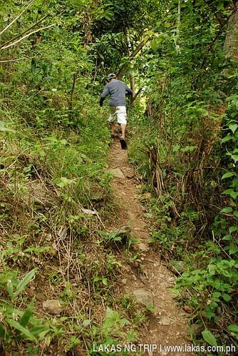 Steep trek to Agbaliga Waterfalls at Romblon Island, Romblon Province, Philippines