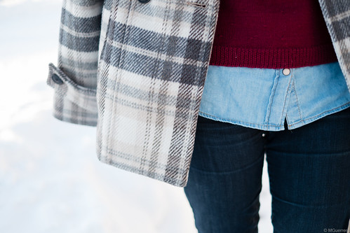 burgundy sweater chambray layers