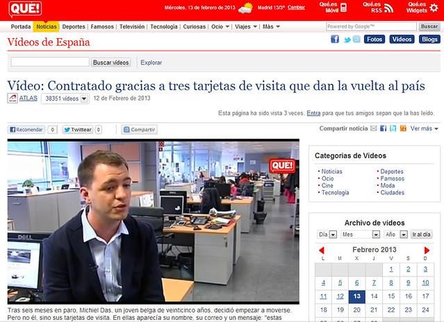 Artículo en la web - Qué.es (13.02.2013) - castellano
