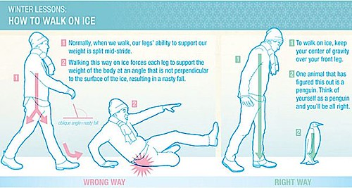 Also, please don't walk like a penguin.