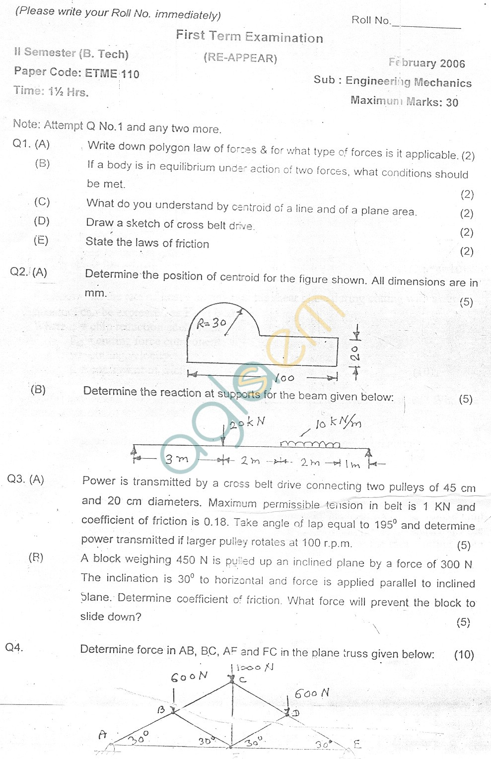 GGSIPU Question Papers Second Semester – First Term 2006 – ETME-110