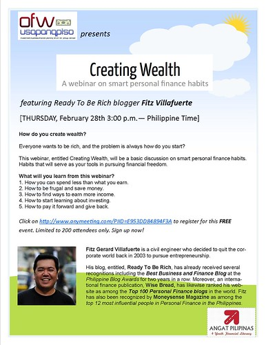 Creating Wealth Webinar poster
