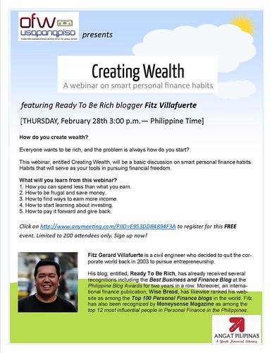Creating Wealth Webinar poster