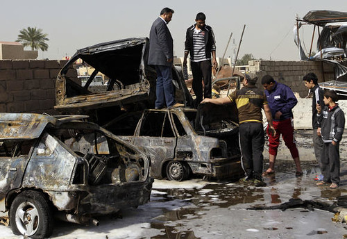 Bomb damage in eastern Baghdad after dozens were killed in violence on Feb. 17, 2013. Violence has escalated in recent weeks targeting Shiite communities. by Pan-African News Wire File Photos