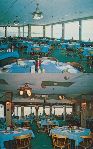 vintage restaurant postcard lounge newhampshire rye piratescove pegleg