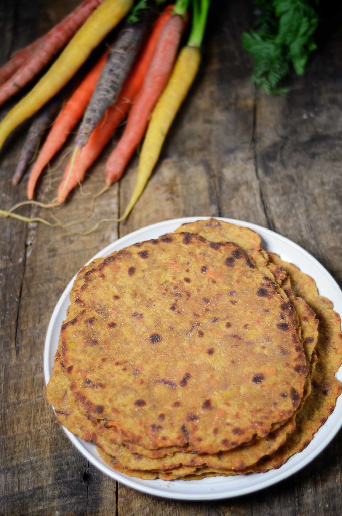 carrot and amaranth flatbread