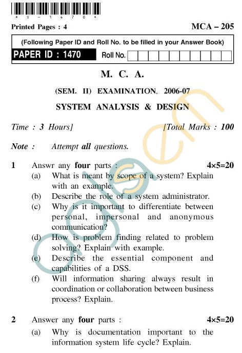UPTU MCA Question Papers - MCA-205 - System Analysis & Design
