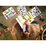 2/27 Playing. #fmsphotoaday Think she (1) likes trains, and (2) has enough going on at once?