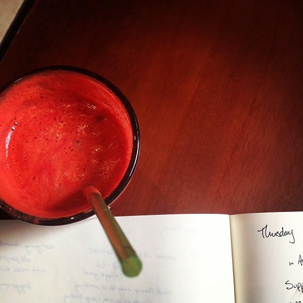 Plotting with beet/carrot/ginger juice. #unpluggedadventureday