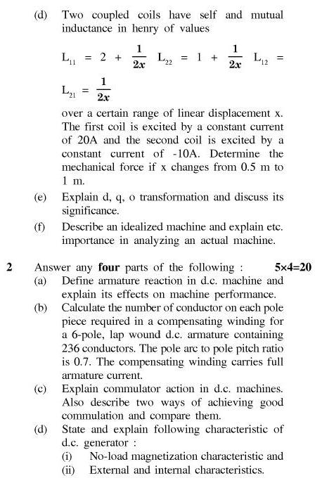 UPTU B.Tech Question Papers - EE-401-Electromechanical Energy Conversion – I