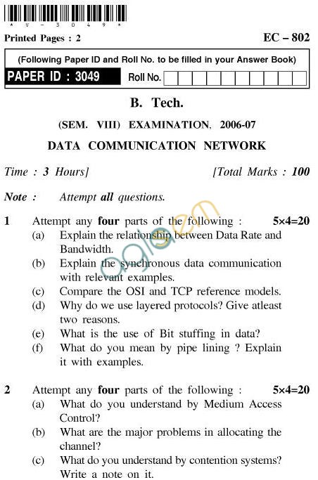 UPTU B.Tech Question Papers - EC-802-Data Communication Network