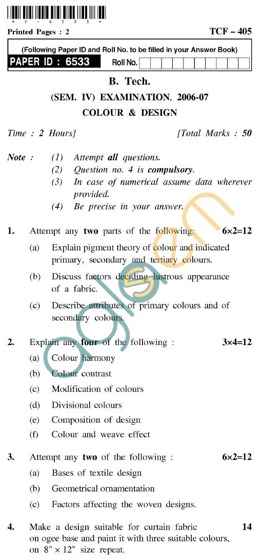 UPTU B.Tech Question Papers - TCF-405 - Colour & Design