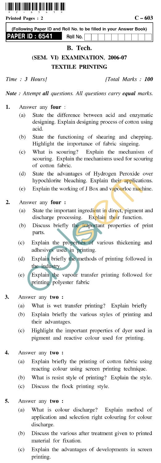 UPTU B.Tech Question Papers - C-603 - Textile Printing