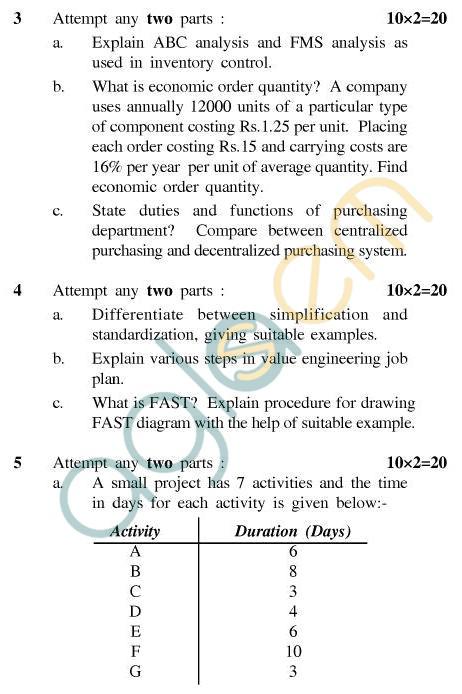 UPTU B.Tech Question Papers - TMT-605 - Production Planning & Control