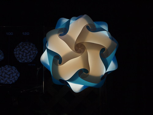 Infinity Lightning lamps, made from plastic vinyl sheets