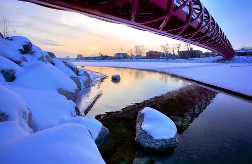 sunset snow calgary ice canon reflections calatrava bowriver yyc jpandersenimages