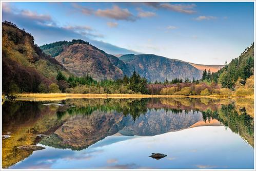 ireland irish lake mountains sunrise reflections dawn nikon glendalough lower wicklow 1685 d7000