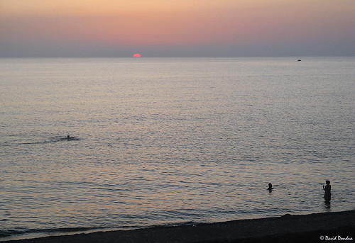 Amazing sunset in Black Sea, Kobuleti,Georgia