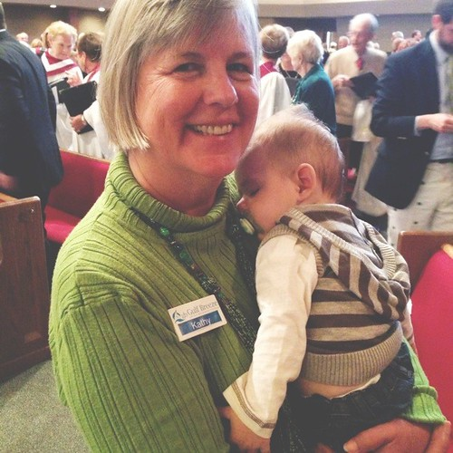 Proud Mimi showing off her little grandson to all her friends at church :) #shesinlove