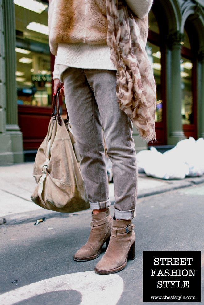ecru, khaki, cream, tan, beige, palette, suede, booties, new york fashion blog, street fashion style, thesfstyle,
