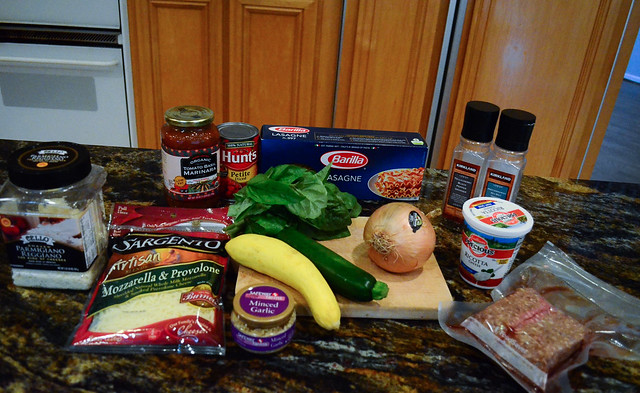 All the required ingredients to make Skillet Lasagna.