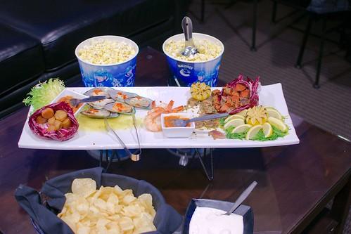Pop-corn, fruits de mer & chips