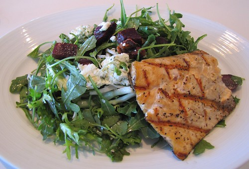 Arugula and roasted beet salad with grilled Arctic Char at The C restaurant + bar