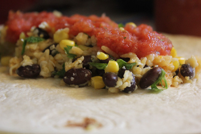Cheesy Corn and Bean Burritos