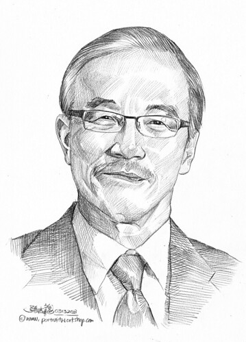 Pencil portrait for Chinese Swimming Club John Chew - 7