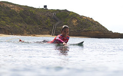 Sally Fitzgibbons all smiles in her round 1 heat.