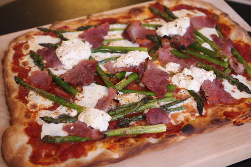 Pizza with Asparagus, Ham, Mozzarella, and Ricotta