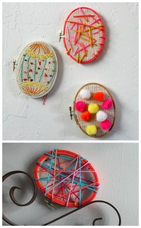 scrumdillydilly: embroidery hoop eggs