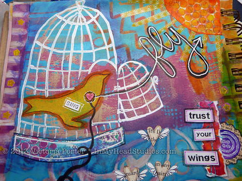 """Soar & Fly"" Art Journal Page : Bird Cage"