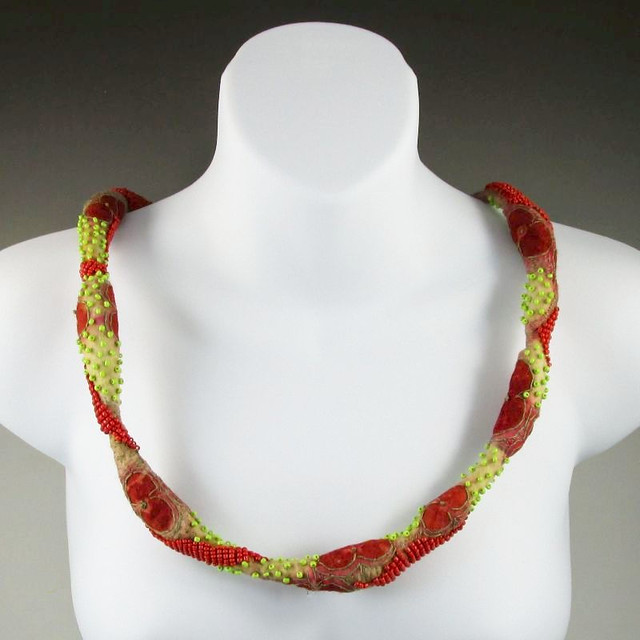 Eco printed wet felted beaded necklace