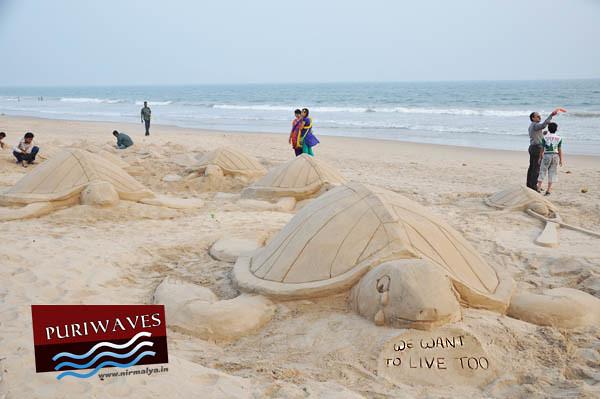 Save Turtle Awareness Sand Art Manas Kumar Sahoo