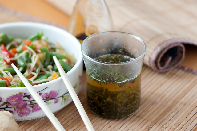 Green ment tea and chinese salad