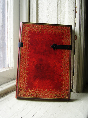 leather bound sketchbook that i am going to make into a winterval grimoire