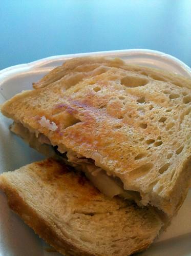 Duck Confit, Pear, Jarlsberg, & Gruyere Sandwich