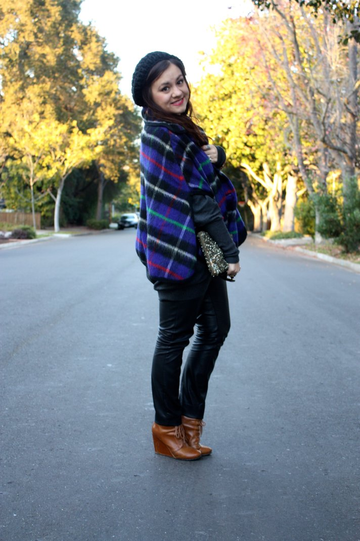 SF Bay Area Fashion and Lifestyle Blog: plaid cape, slouchy beanie, leather skinny pants, brown lace-up wedge booties, sequin zara clutch