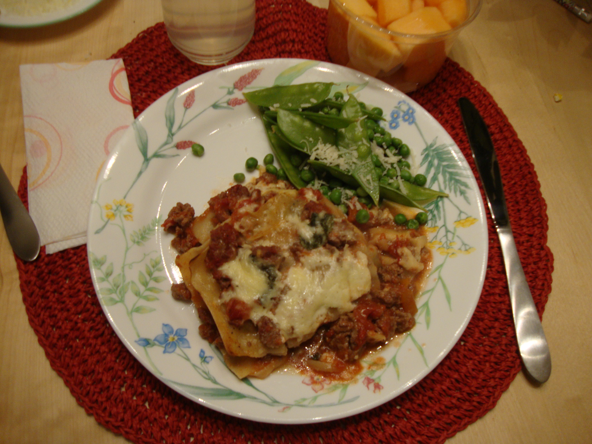 Lasagne bolognese from Rocco DiSpirito's Now Eat This Italian with snaps & peas