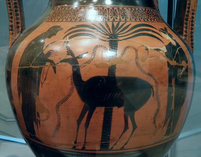 Athenian black-figure pottery amphora, Apollo and Leto standing with a palm tree and a deer: personifications of Apollo and his sister Artemis, Ashmolean Museum