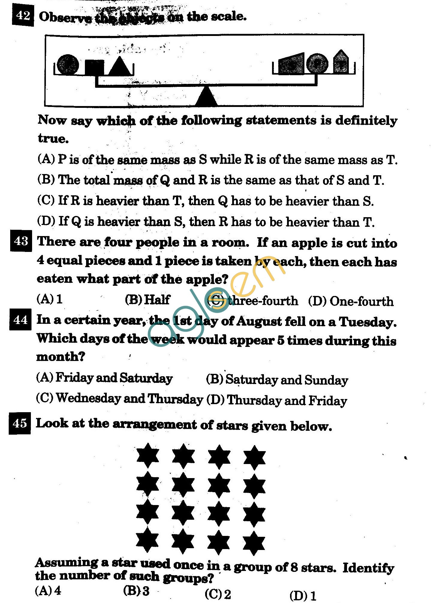 NSTSE 2011: Class IV Question Paper with Answers - Mathematics