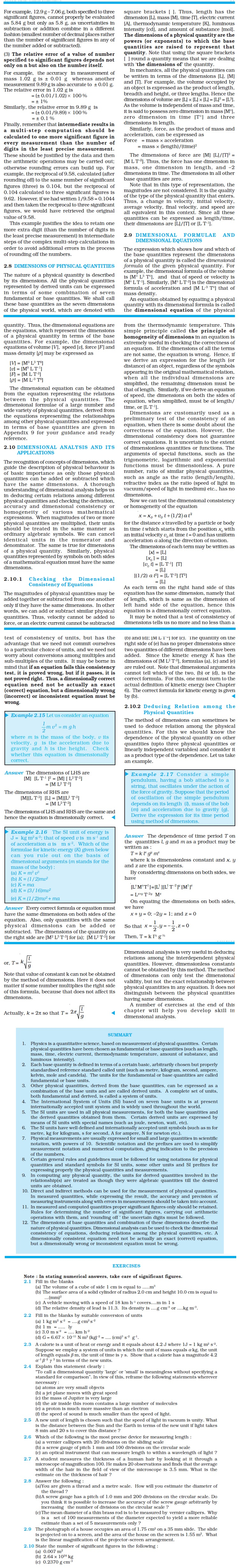 Physics assignment for class xi