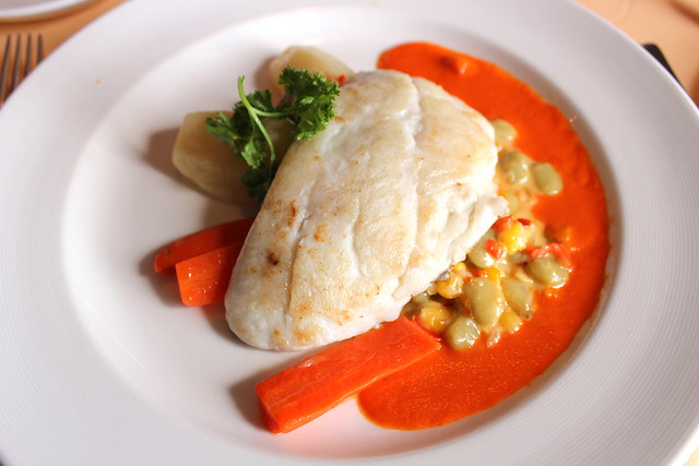 Sauteed Red Snapper on Bell Pepper Puree with succotash and roasted potatoes