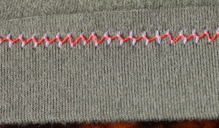 twin needle stitching away from the edge