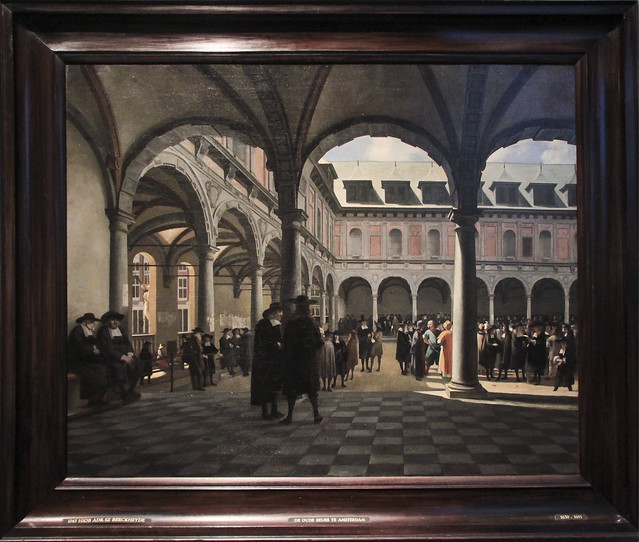 The courtyard of the Stock Exchange, Job Adriaensz. Berckheyde, 1670