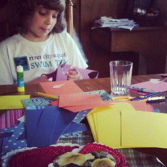 Making valentines.