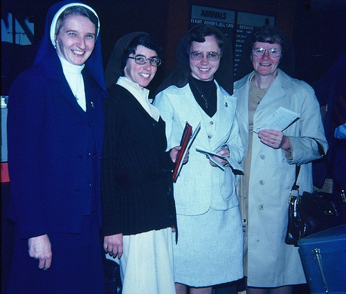 November 29, 1976. Ready for departure at Los Angeles airport (from left to right) California Regional Superior Sr. Canice with the three new missionaries Margie Buttitta SSL, Maura Clerkin SSL and Catherine Foley SSL